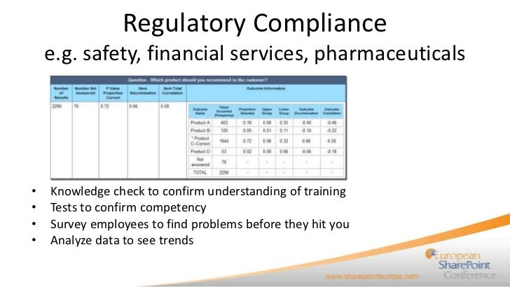 Regulatory Compliance    e.g. safety, financial services, pharmaceuticals•   Knowledge check to confirm understanding of t...