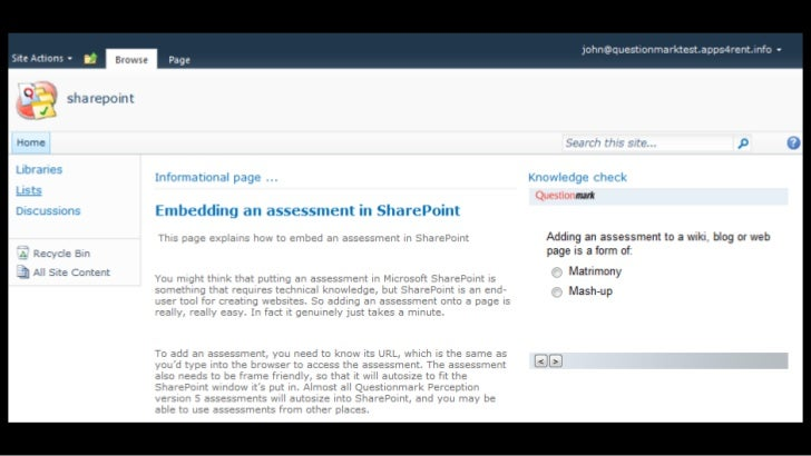 Where to learn more• 70+20+10 model   – White paper by Charles Jennings www.duntroon.com• SharePoint and Assessments blog ...