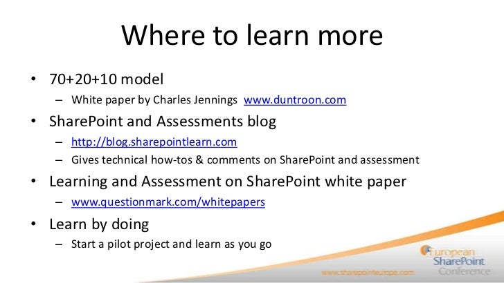 Measuring social learning in SharePoint with assessments