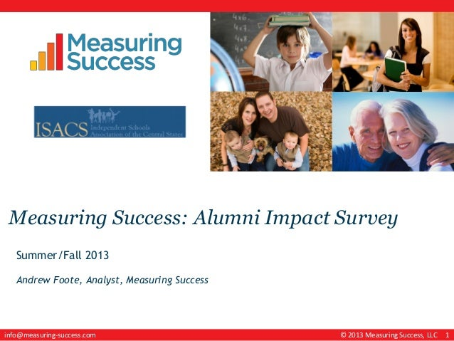 © 2013 Measuring Success, LLC 1info@measuring-success.com Measuring Success: Alumni Impact Survey Summer/Fall 2013 Andrew ...