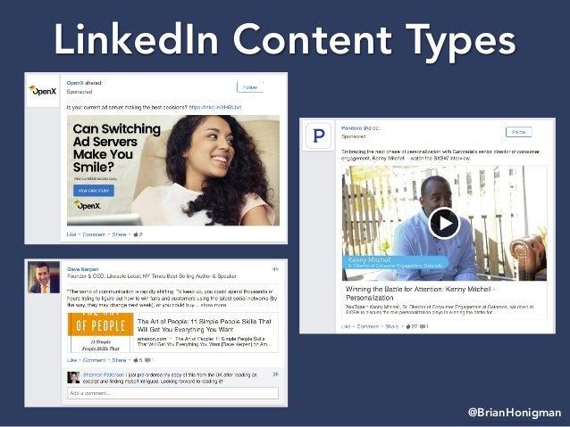 @BrianHonigman LinkedIn Content Types