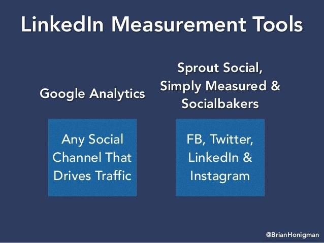 @BrianHonigman LinkedIn Measurement Tools Any Social Channel That Drives Traffic Google Analytics FB, Twitter, LinkedIn & ...