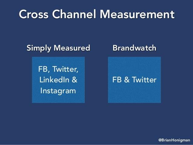 @BrianHonigman Cross Channel Measurement FB, Twitter, LinkedIn & Instagram Simply Measured FB & Twitter Brandwatch