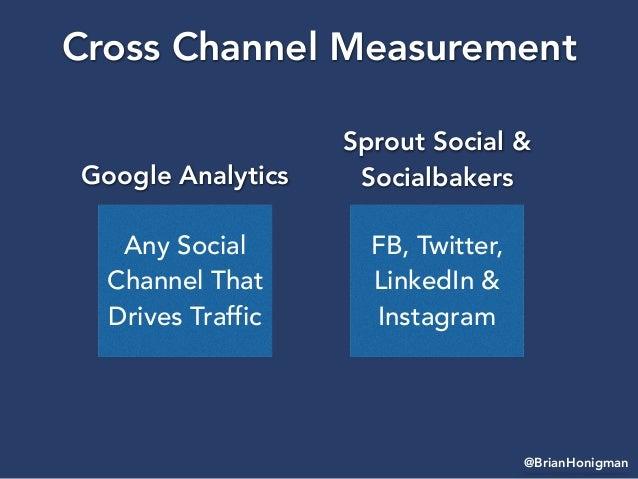 @BrianHonigman Cross Channel Measurement Any Social Channel That Drives Traffic Google Analytics FB, Twitter, LinkedIn & I...