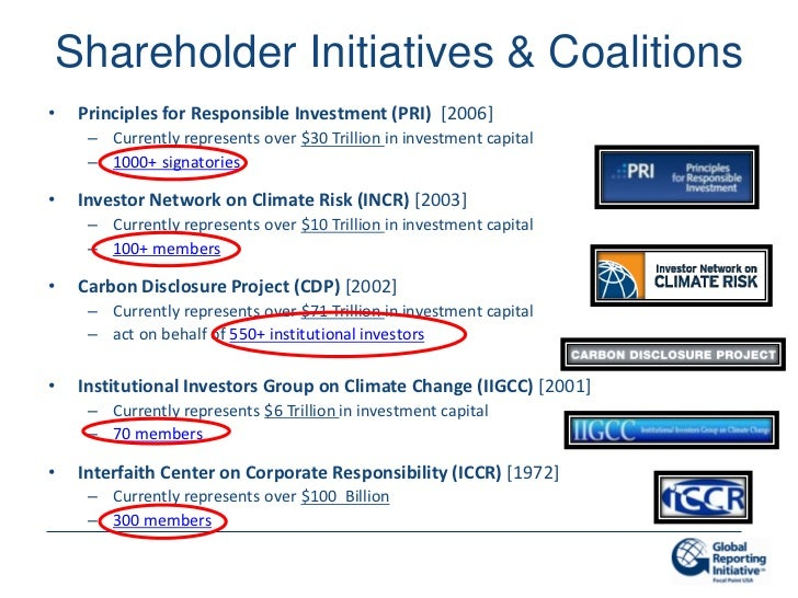 Shareholder Initiatives & Coalitions•    Principles for Responsible Investment (PRI) [2006]      – Currently represents ov...