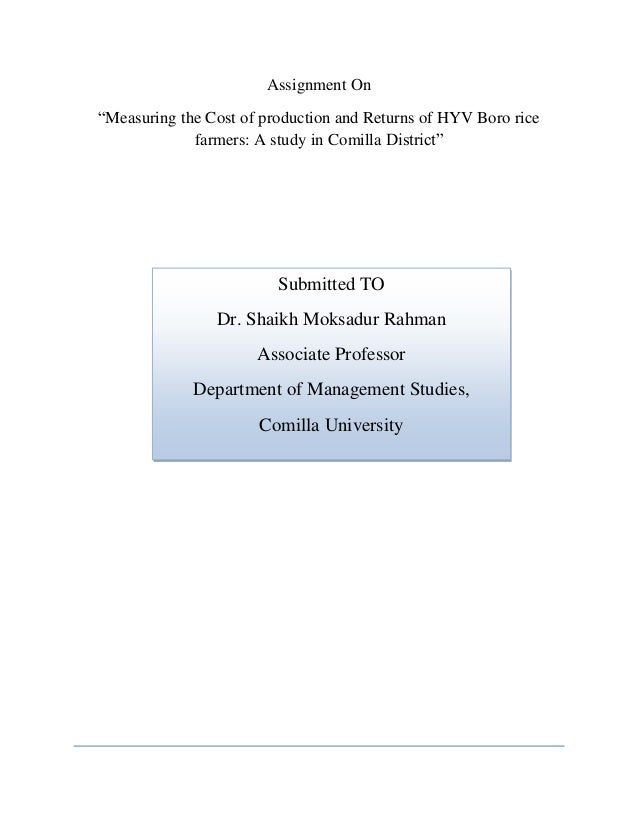 Measuring the cost of production and returns of hyv boro rice farmers…