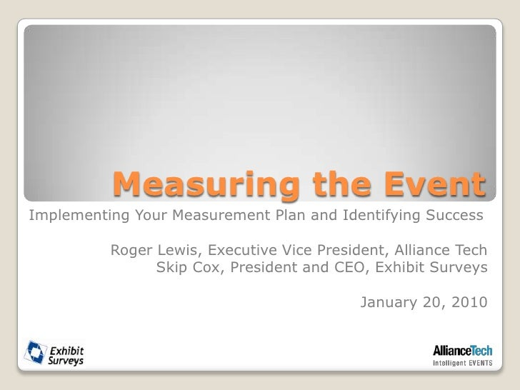 Measuring the Event<br />Implementing Your Measurement Plan and Identifying Success<br />Roger Lewis, Executive Vice Presi...