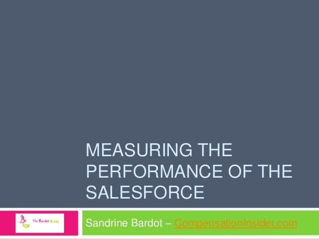 MEASURING THE PERFORMANCE OF THE SALESFORCE Sandrine Bardot – CompensationInsider.com