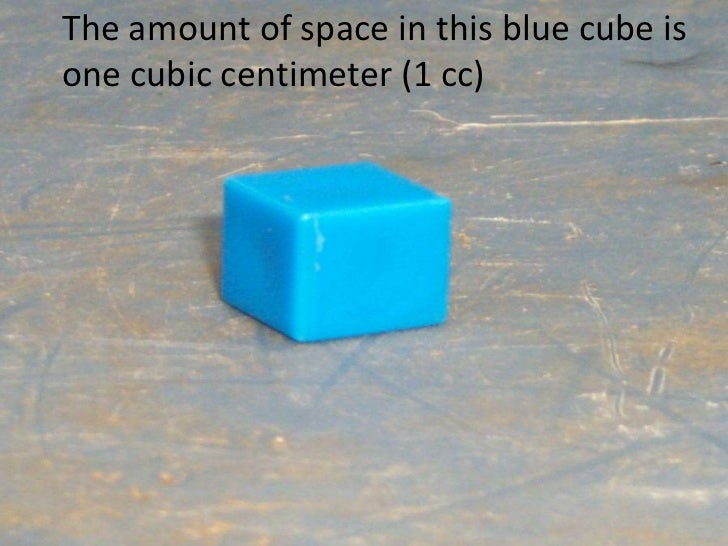 The amount of space in this blue cube is one cubic centimeter (1 cc)<br />