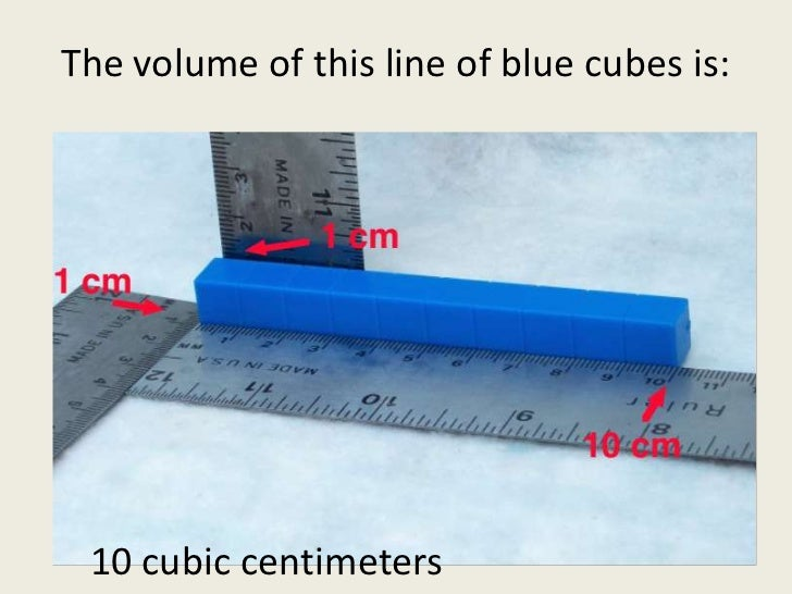 The volume of this line of blue cubes is:<br />10 cubic centimeters<br />