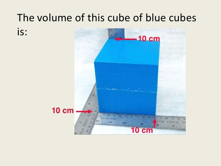 The volume of this cube of blue cubes is:<br />