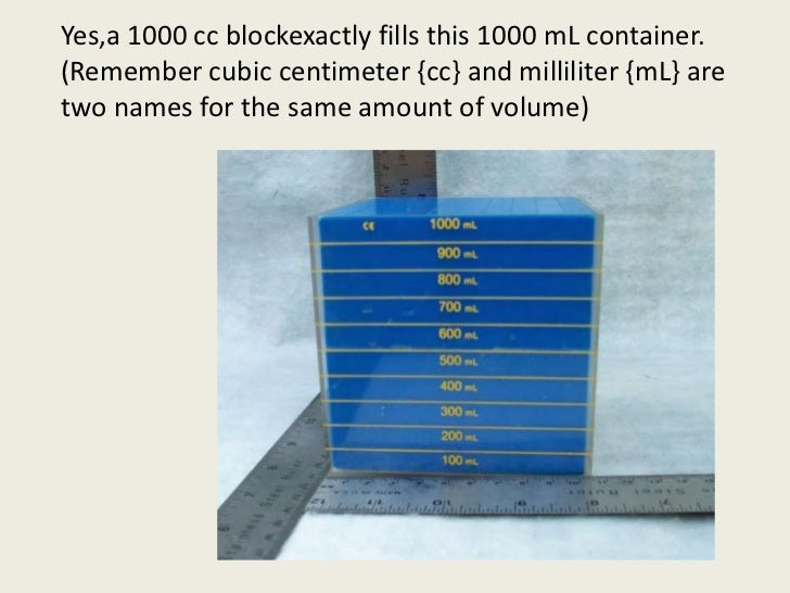 Yes,a 1000 cc blockexactly fills this 1000 mL container.  (Remember cubic centimeter {cc} and milliliter {mL} are two name...