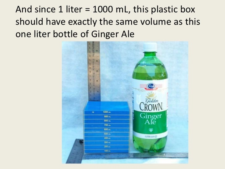And since 1 liter = 1000 mL, this plastic box should have exactly the same volume as this one liter bottle of Ginger Ale<b...