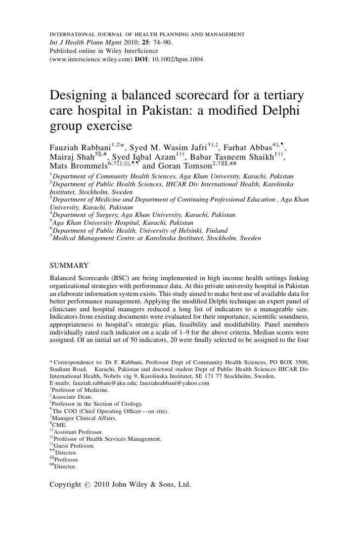 international journal of health planning and management Int J Health Plann Mgmt 2010; 25: 74–90. Published online in Wiley...