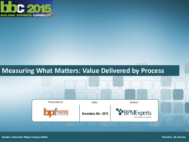 1 I Measuring What Matters: Value Delivered by Process Speaker: Alexandre Magno Vazquez Mello Duration: 60 minutes Author:...