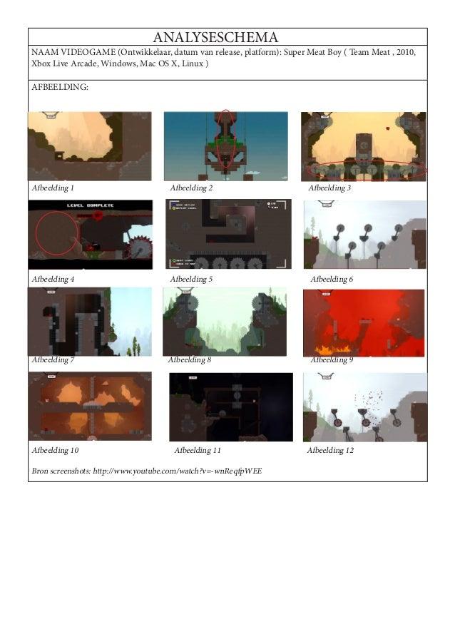 ANALYSESCHEMANAAM VIDEOGAME (Ontwikkelaar, datum van release, platform): Super Meat Boy ( Team Meat , 2010,Xbox Live Arcad...