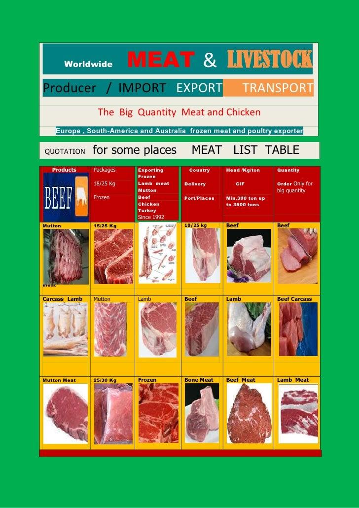 Worldwide        MEAT & LIVESTOCKProducer / IMPORT EXPORT                                    TRANSPORT                The ...