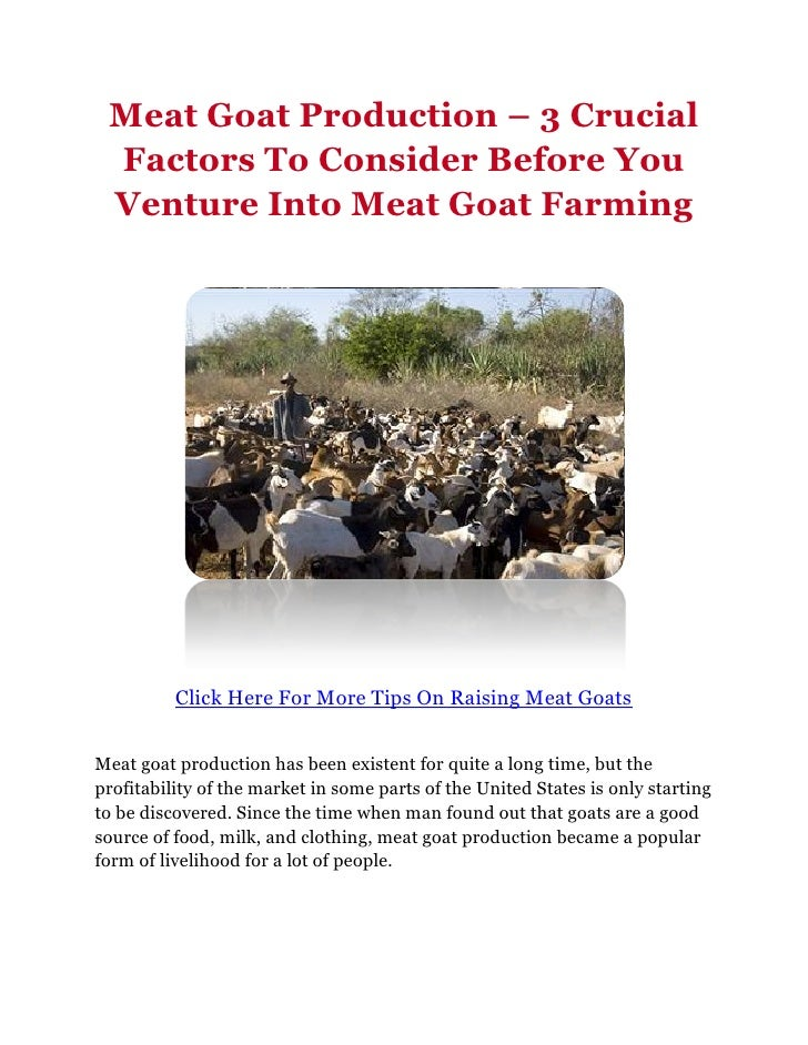 Meat Goat Production – 3 Crucial Factors To Consider Before You Venture Into Meat Goat Farming          Click Here For Mor...