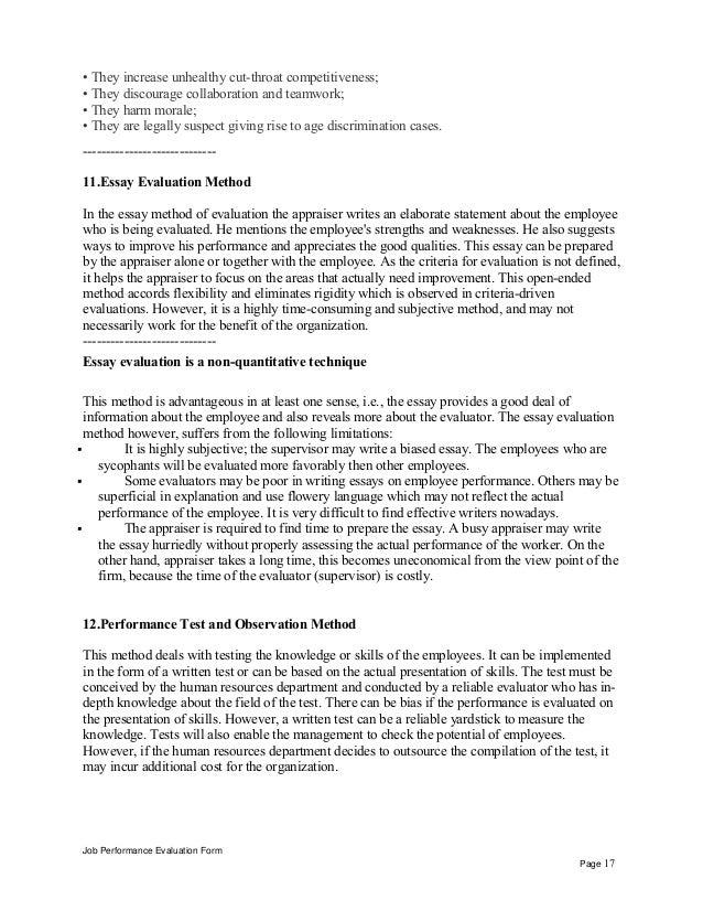 Disadvantages Job Performance Evaluation Form Page 16; 17.