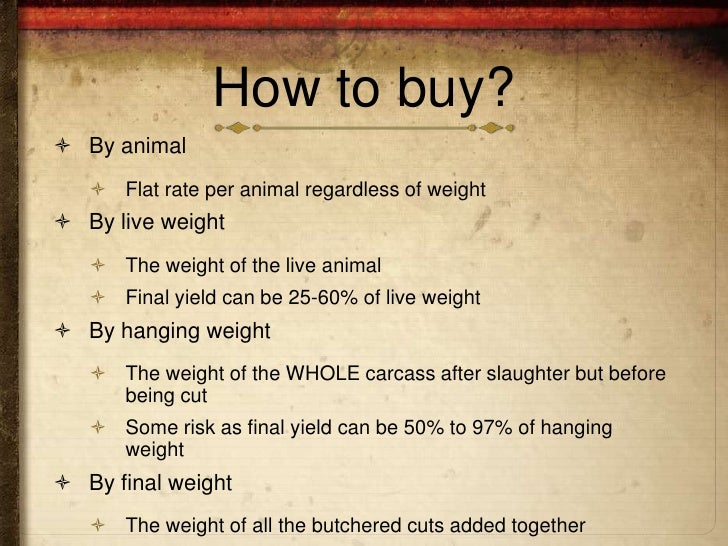 How to buy? By animal    Flat rate per animal regardless of weight By live weight    The weight of the live animal   ...