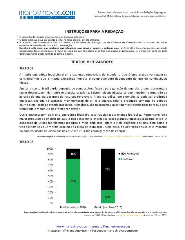 Proposta de redação: As matrizes energéticas brasileiras e seus impactos