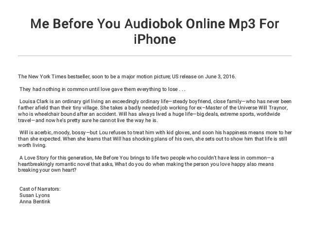 Me Before You Audiobok Online Mp3 For iPhone