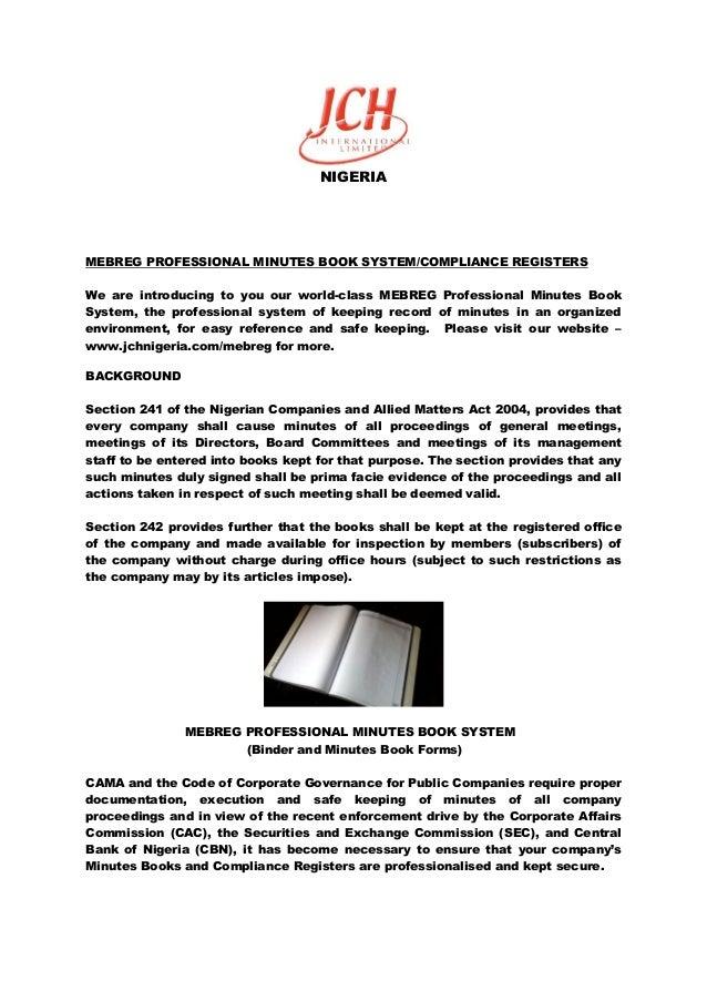 mebreg professional minutes book system nigeria