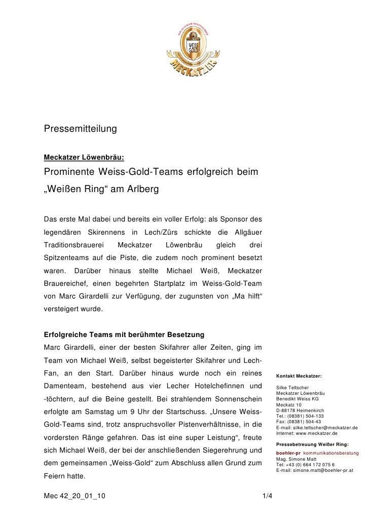 """PressemitteilungMeckatzer Löwenbräu:Prominente Weiss-Gold-Teams erfolgreich beim""""Weißen Ring"""" am ArlbergDas erste Mal dabe..."""