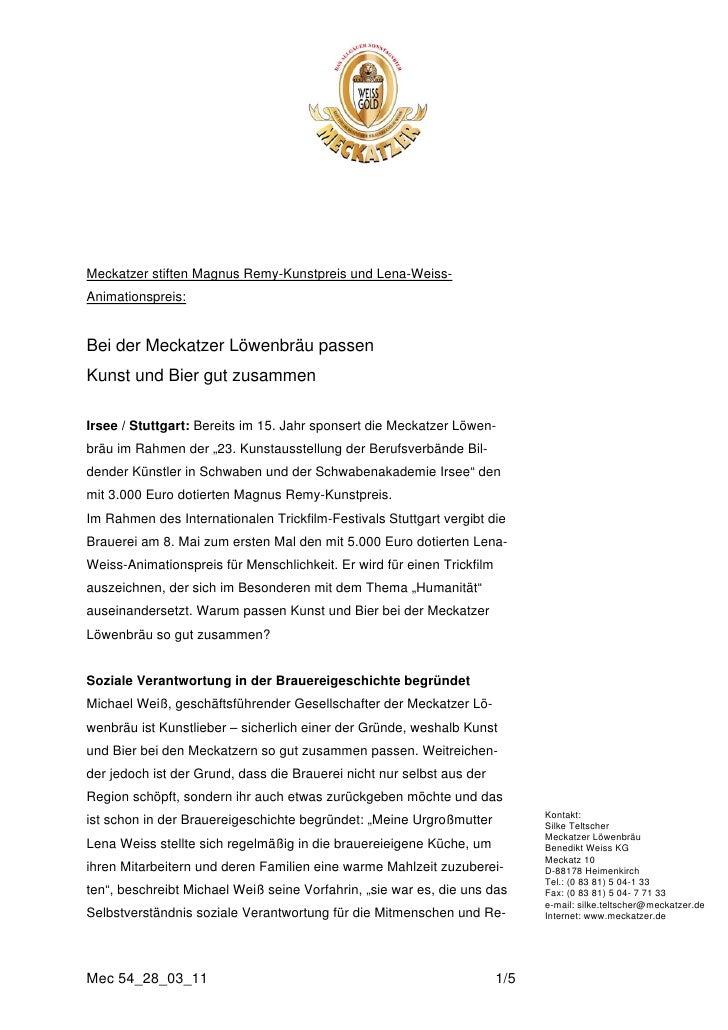 Meckatzer stiften Magnus Remy-Kunstpreis und Lena-Weiss-Animationspreis:Bei der Meckatzer Löwenbräu passenKunst und Bier g...