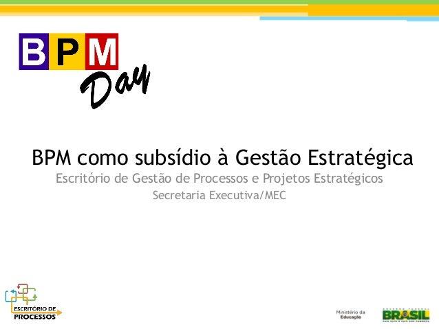 BPM como subsídio à Gestão Estratégica Escritório de Gestão de Processos e Projetos Estratégicos Secretaria Executiva/MEC