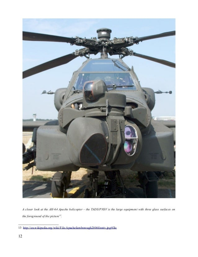 A closer look at the AH-64 Apache helicopter – the TADS/PNSV is the large equipment with three glass surfaces on the foreg...