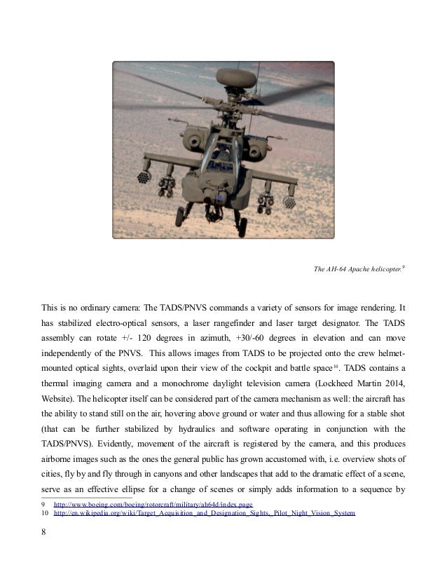 The AH-64 Apache helicopter.9 This is no ordinary camera: The TADS/PNVS commands a variety of sensors for image rendering....