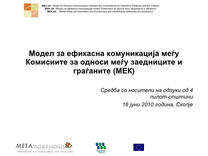 Модел за ефикасна комуникација меѓу Комисиите за односи меѓу заедниците и граѓаните (МЕК) Средба   со носители на одлуки о...