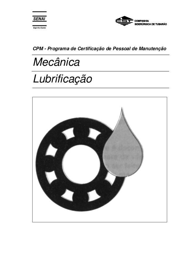 Espírito Santo  CPM - Programa de Certificação de Pessoal de Manutenção  Mecânica  Lubrificação