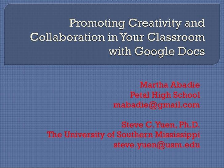 Martha Abadie                    Petal High School                 mabadie@gmail.com                     Steve C. Yuen, Ph...