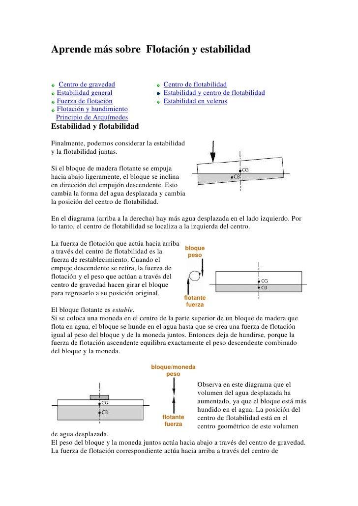 Aprende más sobre Flotación y estabilidad  Centro de gravedad                   Centro de flotabilidad Estabilidad general...