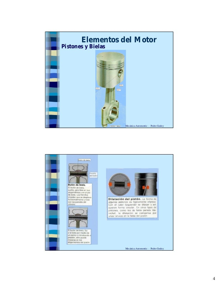 Elementos del Motor Pistones y Bielas                         Mecánica Automotriz - Pedro Godoy                         Me...