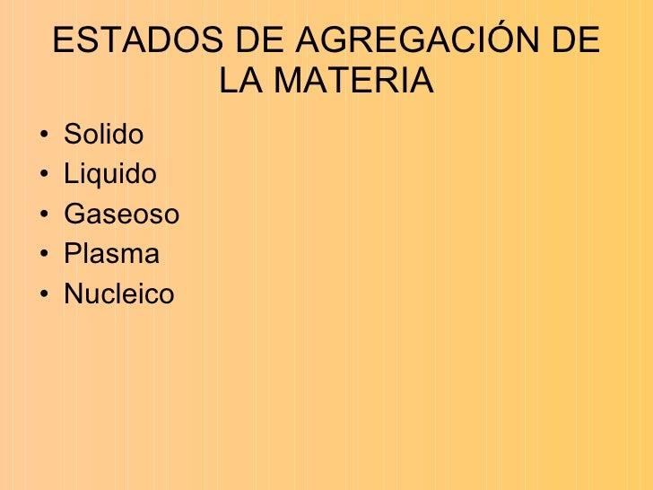 ESTADOS DE AGREGACIÓN DE LA MATERIA <ul><li>Solido  </li></ul><ul><li>Liquido  </li></ul><ul><li>Gaseoso </li></ul><ul><li...
