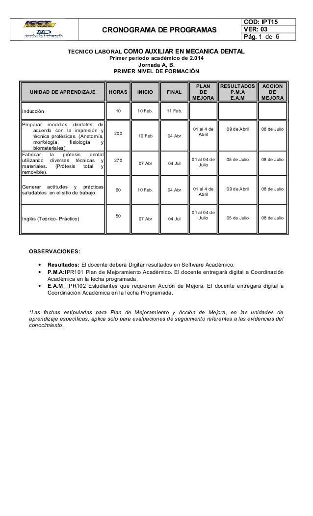 CRONOGRAMA DE PROGRAMAS COD: IPT15 VER: 03 Pág. 1 de 6 TECNICO LABORAL COMO AUXILIAR EN MECANICA DENTAL Primer periodo aca...