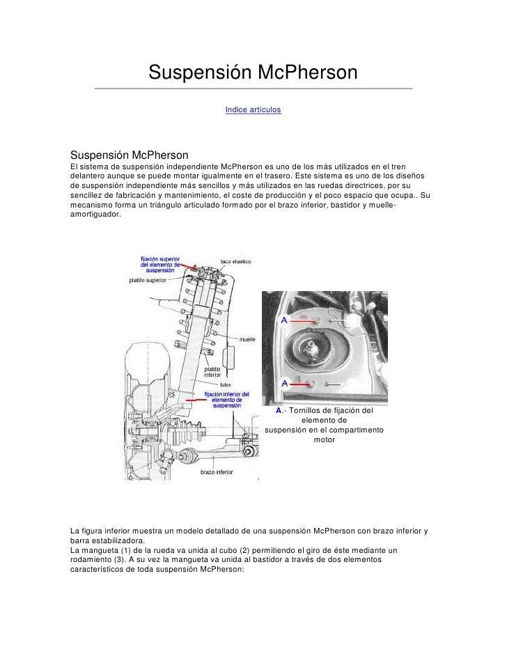 Suspensión McPherson <br />Indice artículos<br /><br />Suspensión McPherson El sistema de suspensión independiente McPher...