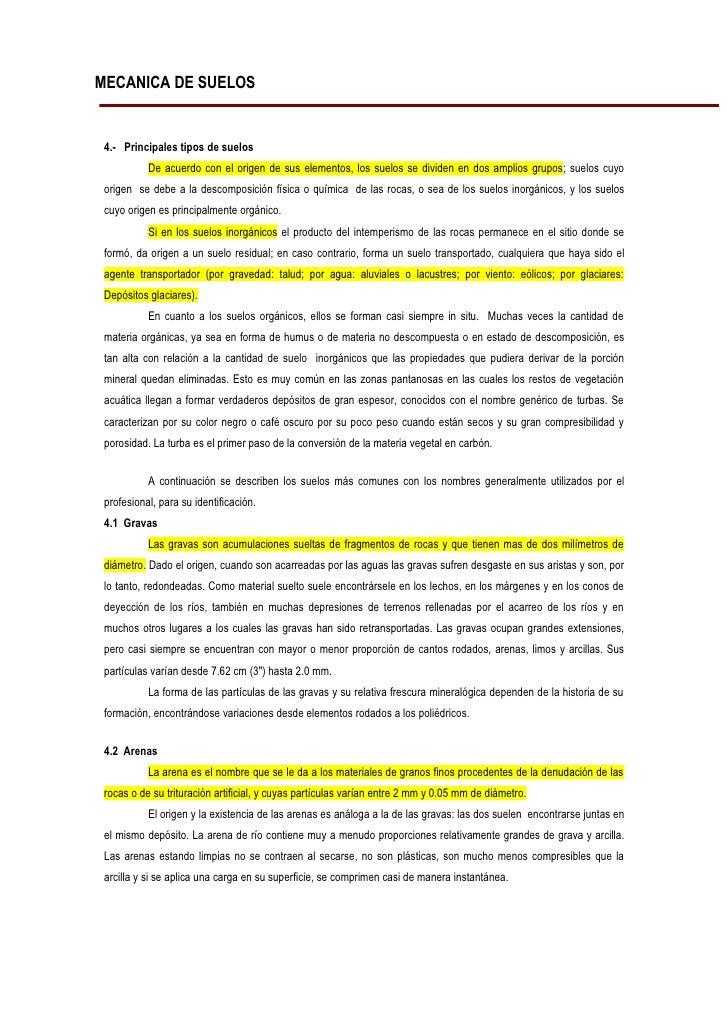 MECANICA DE SUELOS    4.- Principales tipos de suelos            De acuerdo con el origen de sus elementos, los suelos se ...