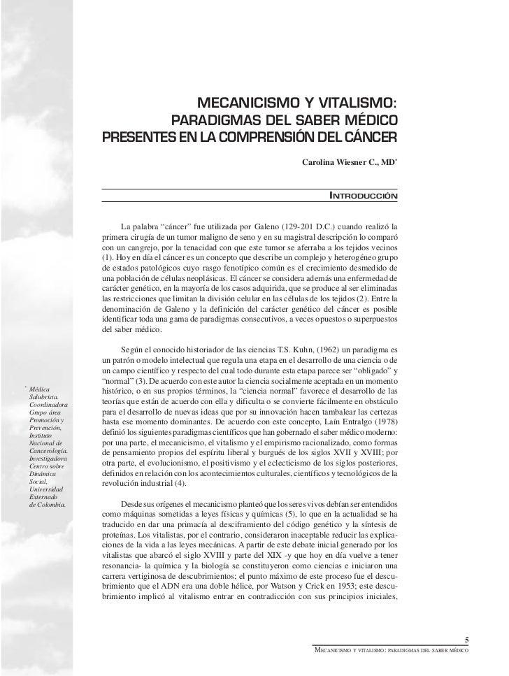 MECANICISMO Y VITALISMO:                            PARADIGMAS DEL SABER MÉDICO                    PRESENTES EN LA COMPREN...