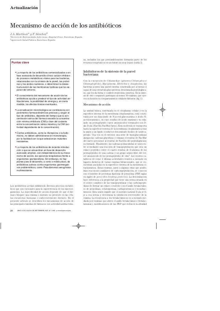 »ˇ¯   4/7/07    10:34      Página 1        Actualización        Mecanismo de acción de los antibióticos        J.A. Martín...