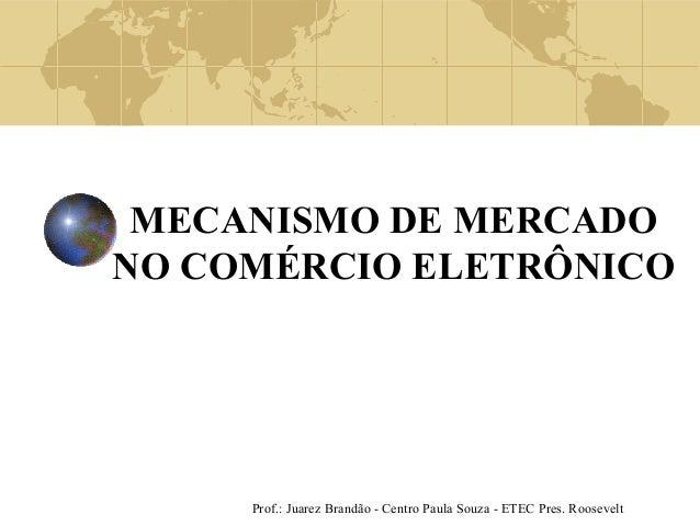 Prof.: Juarez Brandão - Centro Paula Souza - ETEC Pres. Roosevelt MECANISMO DE MERCADO NO COMÉRCIO ELETRÔNICO