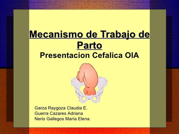 Mecanismo de Trabajo de Parto Presentacion Cefalica OIA Garza Raygoza Claudia E. Guerra Cazares Adriana Nerio Gallegos Mar...