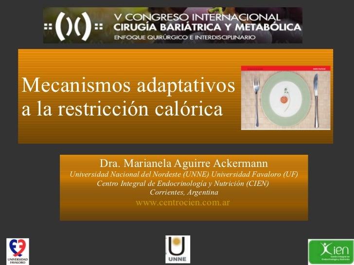 Mecanismos adaptativos  a la restricción calórica Dra. Marianela Aguirre Ackermann Universidad Nacional del Nordeste (UNNE...