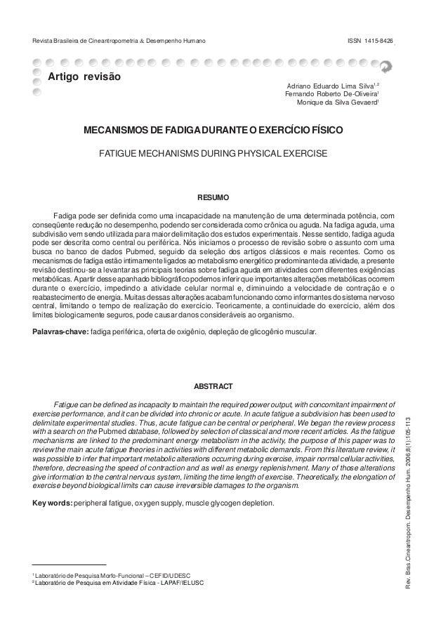 Revista Brasileira de Cineantropometria & Desempenho Humano exercício físico Fadiga e  105 ISSN 1415-8426  Artigo revisão ...