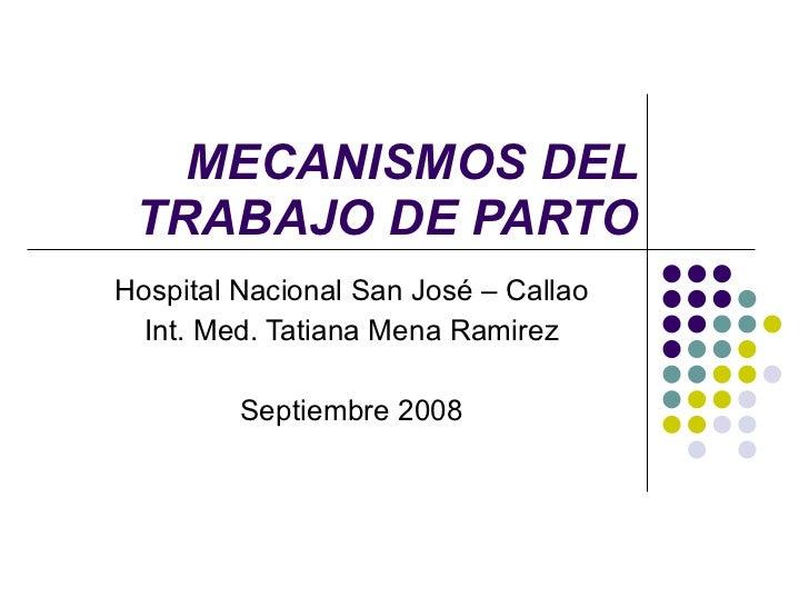 MECANISMOS DEL TRABAJO DE PARTO Hospital Nacional San José – Callao Int. Med. Tatiana Mena Ramirez Septiembre 2008