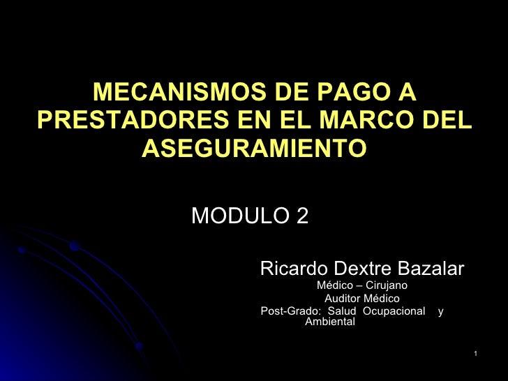 MECANISMOS DE PAGO A PRESTADORES EN EL MARCO DEL ASEGURAMIENTO <ul><li>Ricardo Dextre Bazalar </li></ul><ul><li>Médico – C...