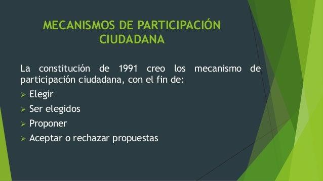 MECANISMOS DE PARTICIPACIÓN CIUDADANA La constitución de 1991 creo los mecanismo de participación ciudadana, con el fin de...